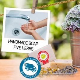 Handmade Soap with 5 herbs for oily skin 95 g
