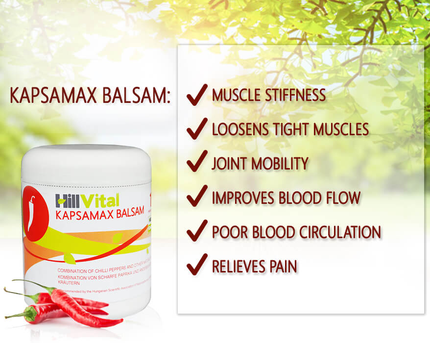 Natural cream Kapsamax for stiff back muscles, stiff neck and blood circulation.